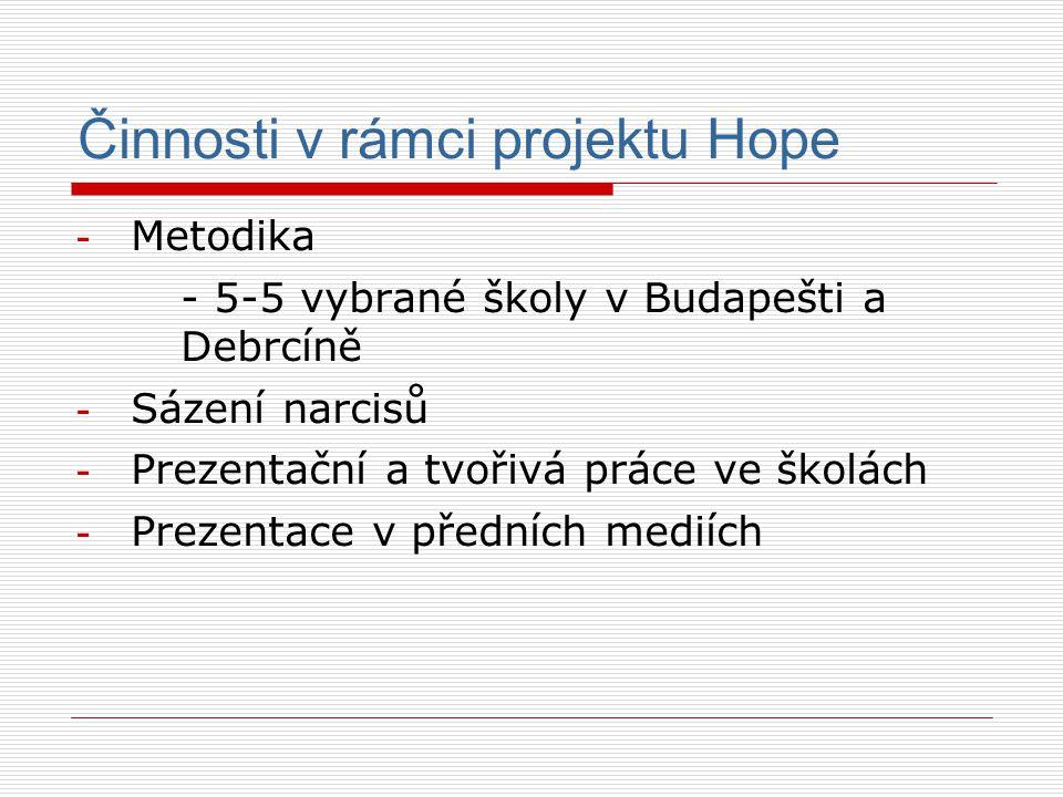 Činnosti v rámci projektu Hope - Metodika - 5-5 vybrané školy v Budapešti a Debrcíně - Sázení narcisů - Prezentační a tvořivá práce ve školách - Prezentace v předních mediích