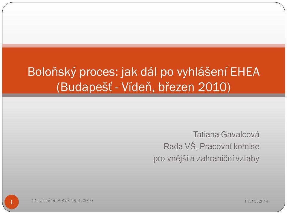 Tatiana Gavalcová Rada VŠ, Pracovní komise pro vnější a zahraniční vztahy Boloňský proces: jak dál po vyhlášení EHEA (Budapešť - Vídeň, březen 2010) 17.12.2014 1 11.