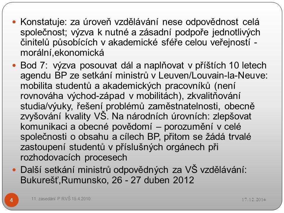 Zaslouží pozornost: vnější nezávislé hodnocení etapy BP za 10 let 17.12.2014 11.