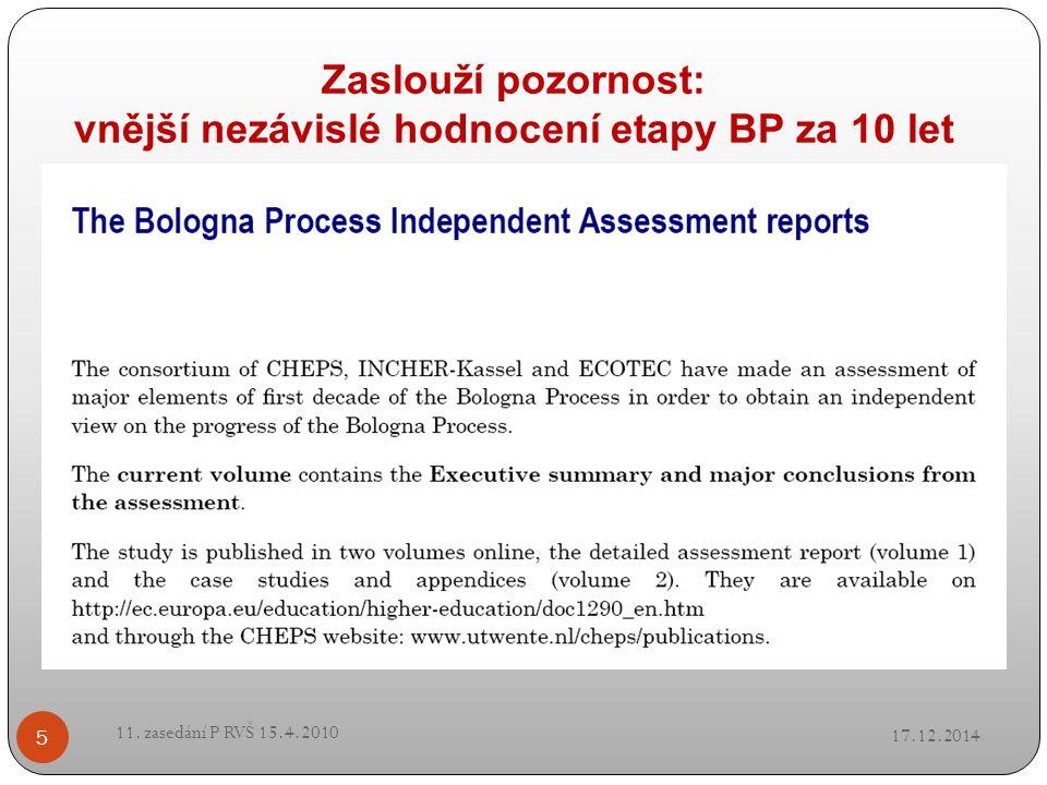 Zaslouží pozornost: vnější nezávislé hodnocení etapy BP za 10 let 17.12.2014 11. zasedání P RVŠ 15.4.2010 5