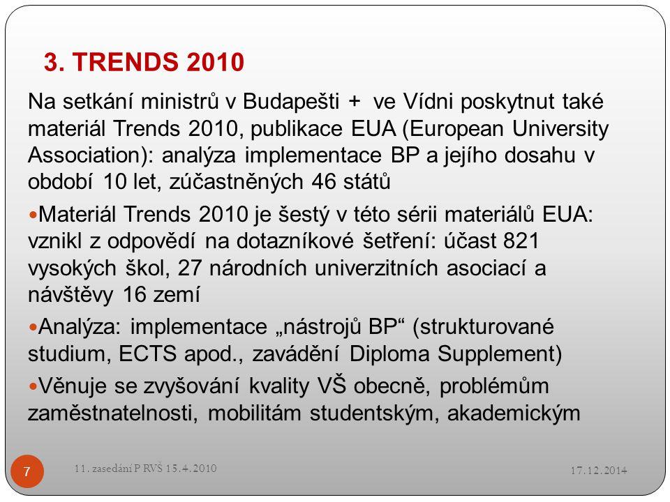3. TRENDS 2010 17.12.2014 11. zasedání P RVŠ 15.4.2010 7 Na setkání ministrů v Budapešti + ve Vídni poskytnut také materiál Trends 2010, publikace EUA