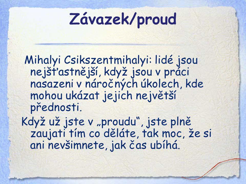 Závazek/proud Mihalyi Csikszentmihalyi: lidé jsou nejšťastnější, když jsou v práci nasazeni v náročných úkolech, kde mohou ukázat jejich největší přednosti.