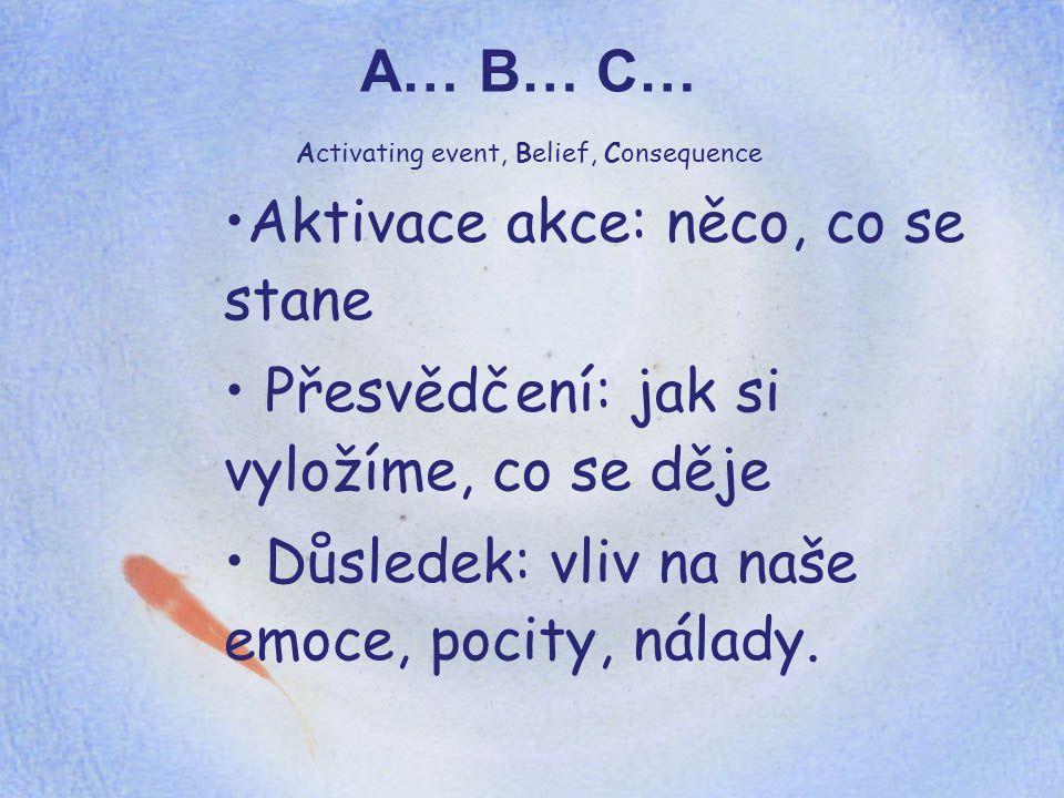 A… B… C… Activating event, Belief, Consequence Aktivace akce: něco, co se stane Přesvědčení: jak si vyložíme, co se děje Důsledek: vliv na naše emoce,