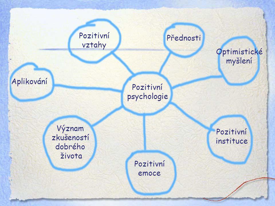 Pozitivní psychologie Přednosti Pozitivní emoce Aplikování Význam zkušeností dobrého života Pozitivní vztahy Pozitivní instituce Optimistické myšlení
