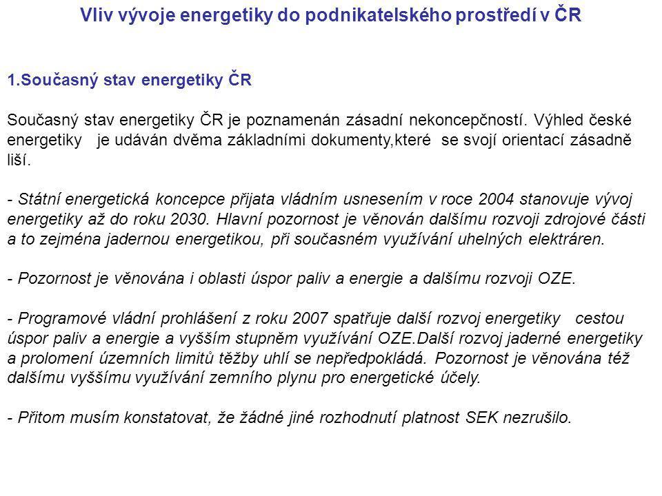 Vliv vývoje energetiky do podnikatelského prostředí v ČR 1.Současný stav energetiky ČR Současný stav energetiky ČR je poznamenán zásadní nekoncepčnost