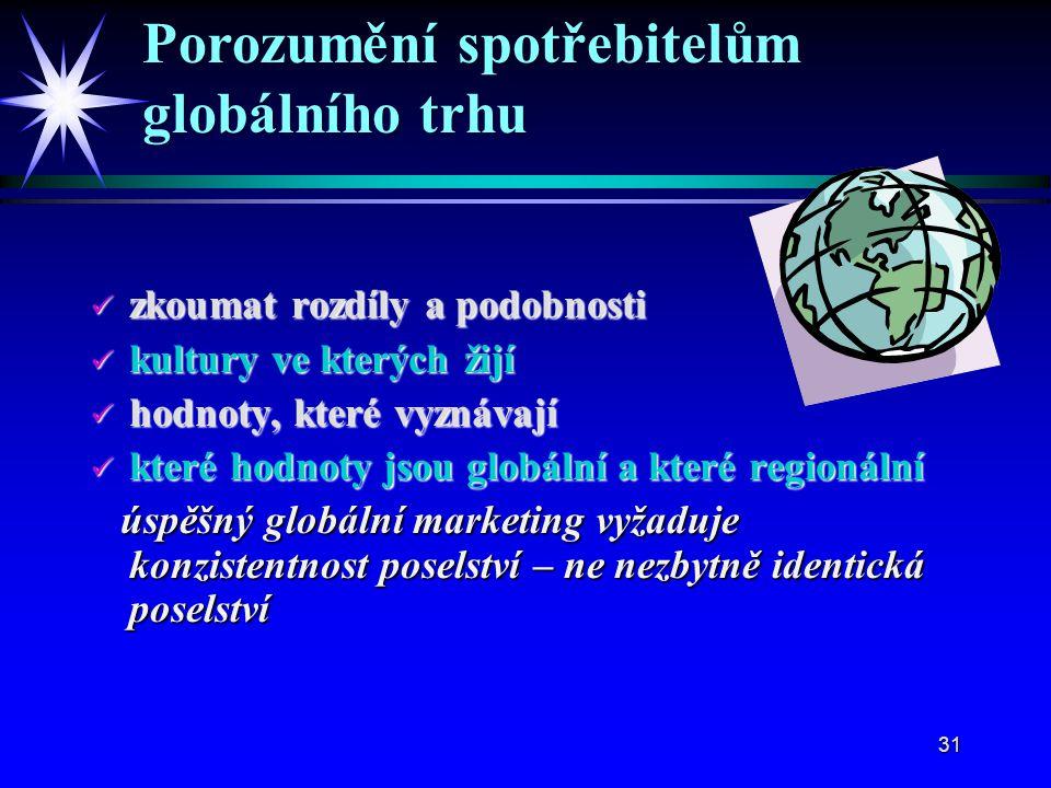 31 zkoumat rozdíly a podobnosti zkoumat rozdíly a podobnosti kultury ve kterých žijí kultury ve kterých žijí hodnoty, které vyznávají hodnoty, které vyznávají které hodnoty jsou globální a které regionální které hodnoty jsou globální a které regionální úspěšný globální marketing vyžaduje konzistentnost poselství – ne nezbytně identická poselství úspěšný globální marketing vyžaduje konzistentnost poselství – ne nezbytně identická poselství Porozumění spotřebitelům globálního trhu