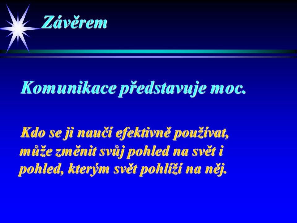 Závěrem Závěrem Komunikace představuje moc. Komunikace představuje moc.