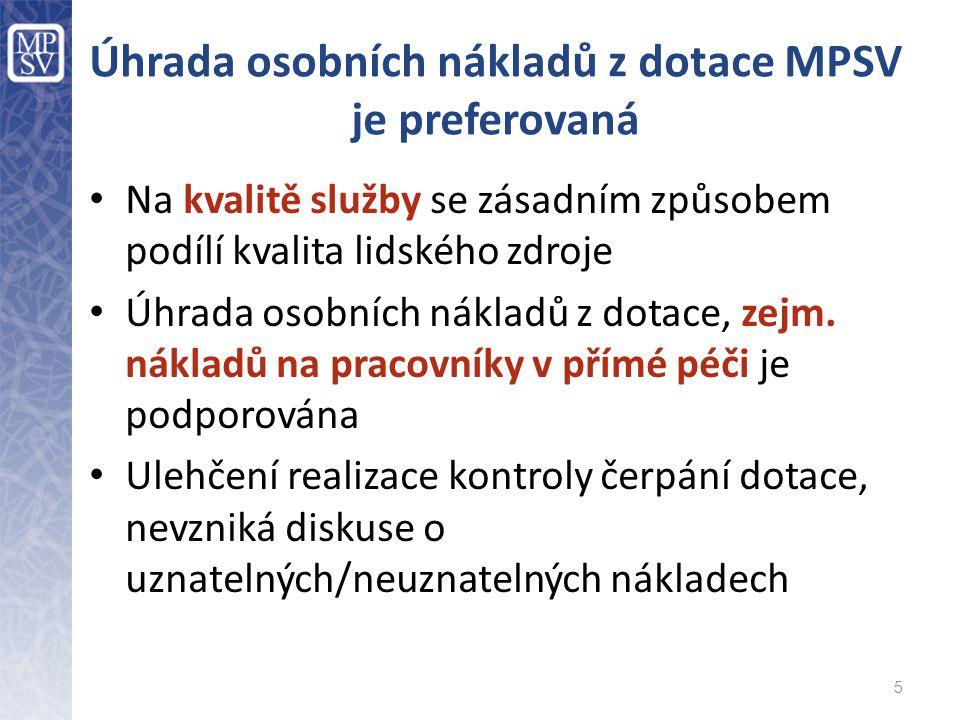 Úhrada osobních nákladů z dotace MPSV je preferovaná Na kvalitě služby se zásadním způsobem podílí kvalita lidského zdroje Úhrada osobních nákladů z dotace, zejm.