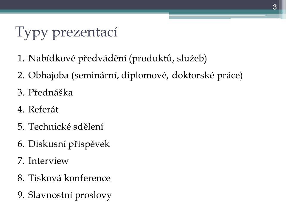 3 Typy prezentací 1.Nabídkové předvádění (produktů, služeb) 2.Obhajoba (seminární, diplomové, doktorské práce) 3.Přednáška 4.Referát 5.Technické sděle
