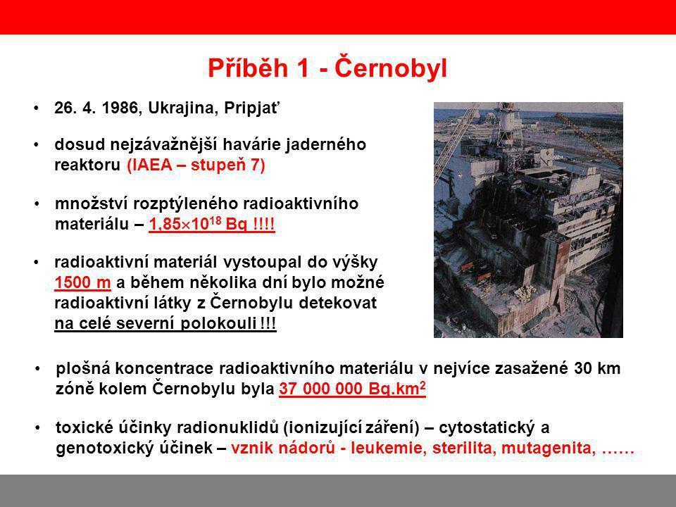 Příběh 1 - Černobyl dosud nejzávažnější havárie jaderného reaktoru (IAEA – stupeň 7) množství rozptýleného radioaktivního materiálu – 1,85  10 18 Bq !!!.