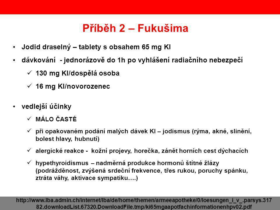 Příběh 2 – Fukušima Jodid draselný – tablety s obsahem 65 mg KI dávkování - jednorázově do 1h po vyhlášení radiačního nebezpečí 130 mg KI/dospělá osob