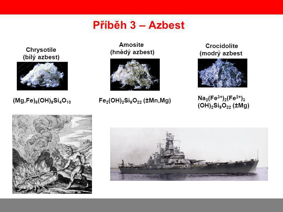 Příběh 3 – Azbest Chrysotile (bílý azbest) Amosite (hnědý azbest) Crocidolite (modrý azbest) (Mg,Fe) 6 (OH) 8 Si 4 O 10 Fe 2 (OH) 2 Si 8 O 22 (±Mn,Mg) Na 2 (Fe 3+ ) 2 (Fe 2+ ) 3 (OH) 2 Si 8 O 22 (±Mg)