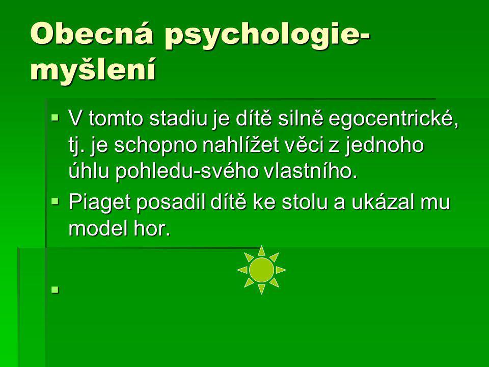 Obecná psychologie- myšlení  V tomto stadiu je dítě silně egocentrické, tj. je schopno nahlížet věci z jednoho úhlu pohledu-svého vlastního.  Piaget