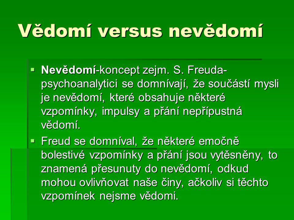 Vědomí versus nevědomí  Nevědomí-koncept zejm. S. Freuda- psychoanalytici se domnívají, že součástí mysli je nevědomí, které obsahuje některé vzpomín
