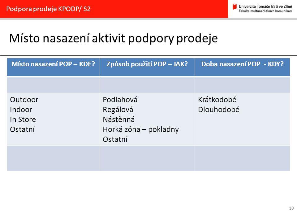 10 Místo nasazení aktivit podpory prodeje Podpora prodeje KPODP/ S2 Místo nasazení POP – KDE?Způsob použití POP – JAK?Doba nasazení POP - KDY? Outdoor