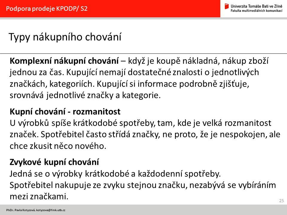 25 PhDr. Pavla Kotyzová, kotyzova@fmk.utb.cz Typy nákupního chování Podpora prodeje KPODP/ S2 Komplexní nákupní chování – když je koupě nákladná, náku