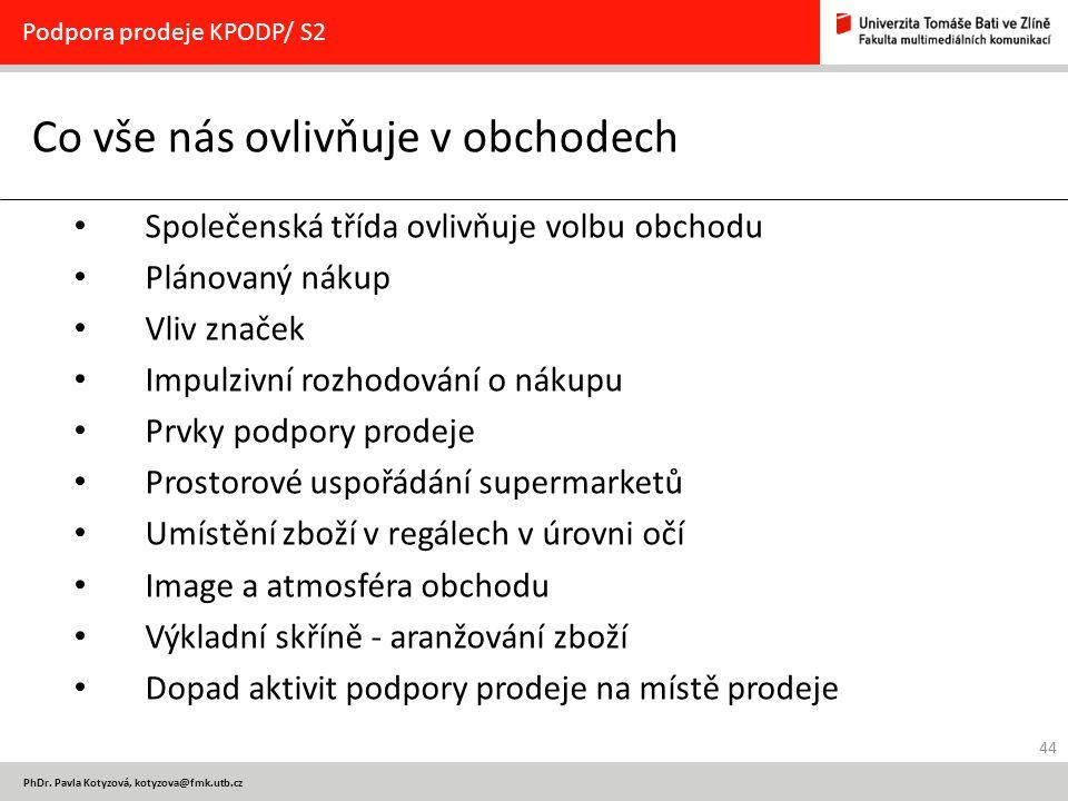 44 PhDr. Pavla Kotyzová, kotyzova@fmk.utb.cz Co vše nás ovlivňuje v obchodech Podpora prodeje KPODP/ S2 Společenská třída ovlivňuje volbu obchodu Plán