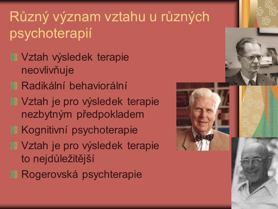 Různý význam vztahu u různých psychoterapií Vztah výsledek terapie neovlivňuje Radikální behaviorální Vztah je pro výsledek terapie nezbytným předpokladem Kognitivní psychoterapie Vztah je pro výsledek terapie to nejdůležitější Rogerovská psychterapie