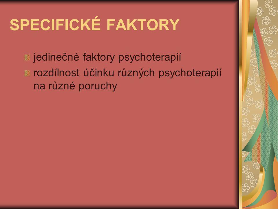 SPECIFICKÉ FAKTORY jedinečné faktory psychoterapií rozdílnost účinku různých psychoterapií na různé poruchy