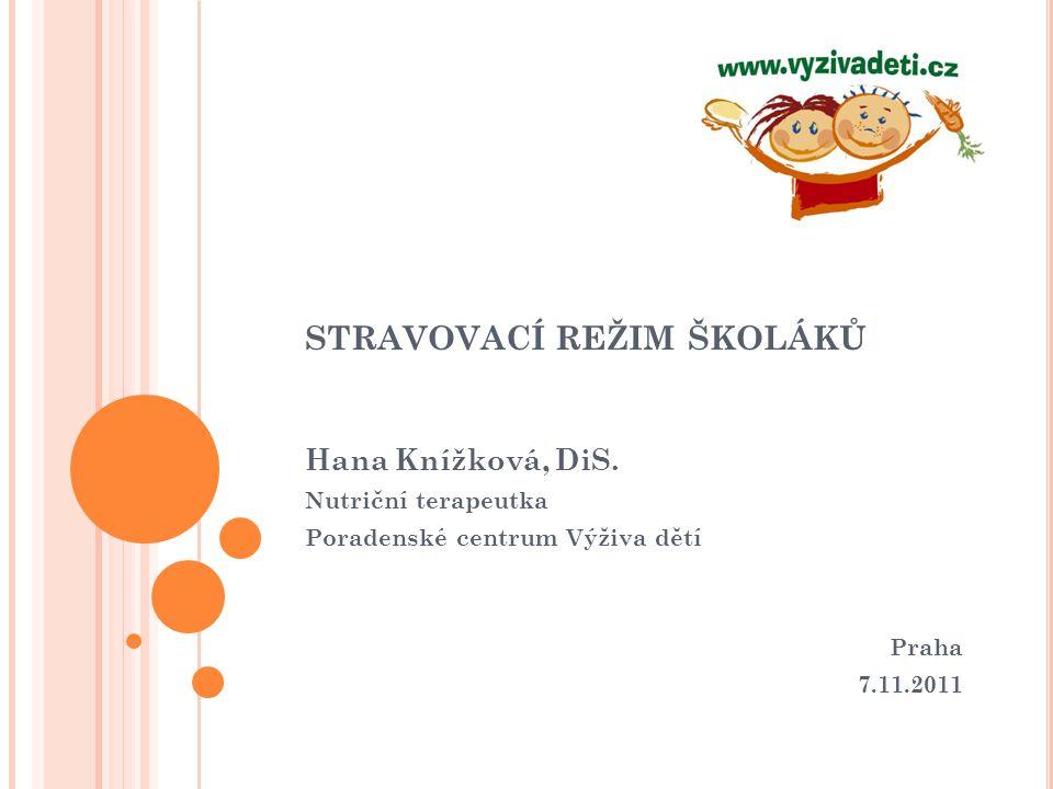 STRAVOVACÍ REŽIM ŠKOLÁKŮ Hana Knížková, DiS. Nutriční terapeutka Poradenské centrum Výživa dětí Praha 7.11.2011