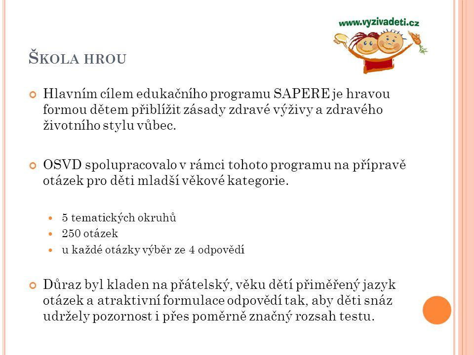 Š KOLA HROU Hlavním cílem edukačního programu SAPERE je hravou formou dětem přiblížit zásady zdravé výživy a zdravého životního stylu vůbec. OSVD spol