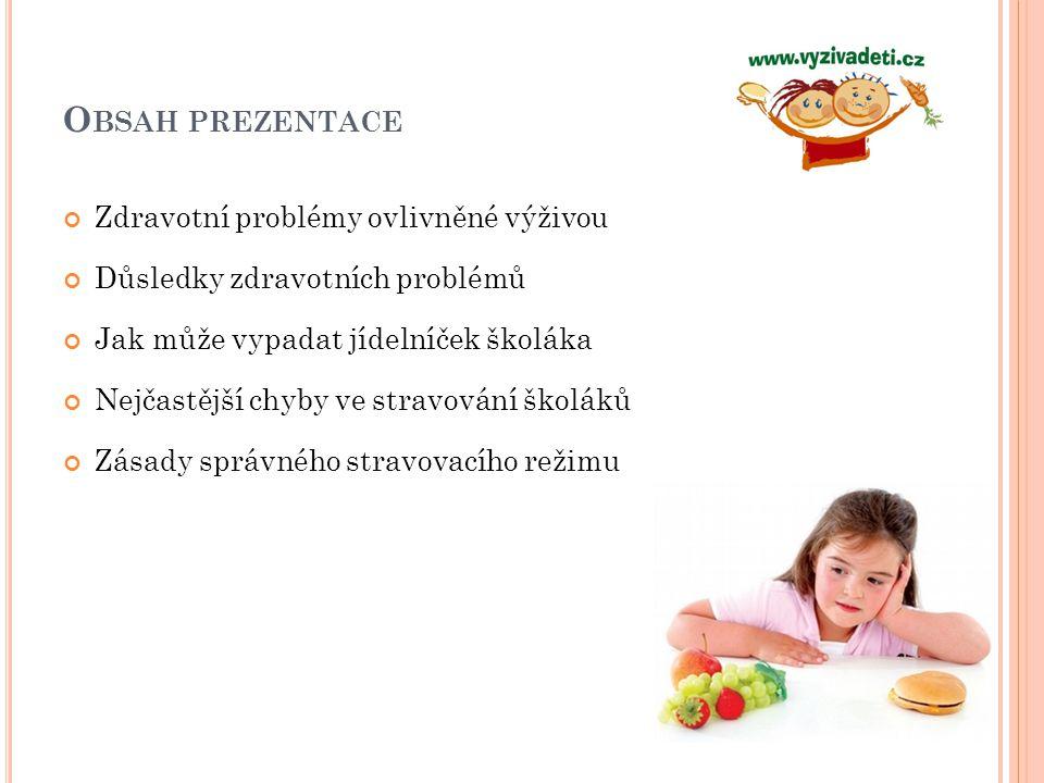 Výsledky studie provedené OSPLDD v roce 2008 na vzorku 4000 dětí z celé ČR 28 % dětí – zvýšená hladina CHOL v krvi (do 5,2 mmol/l) 11 % dětí – vysoká hladina CHOL v krvi (5,2 a více mmol/l) 46 % dětí – vyšší hladina LDL cholesterolu 8 % dětí - zvýšená/vysoká hodnota TK ZDRAVOTNÍ PROBLÉMY OVLIVNĚNÉ VÝŽIVOU – CHOLESTEROL A TLAK