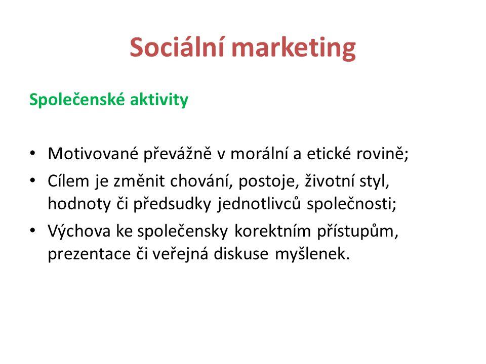 Sociální marketing sociální marketing X marketing neziskového sektoru nekomerční marketing