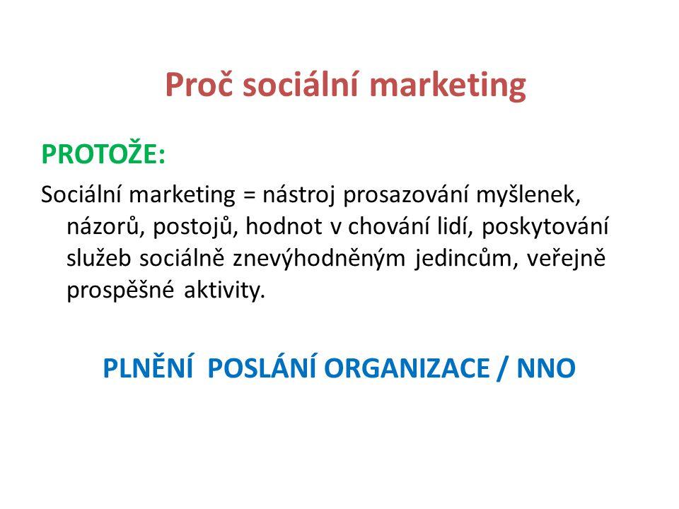 Sociálně marketingová kampaň Dosažení vnímání klientů / veřejnosti Zorganizování jednorázové akce Změna chování občanů Změna hodnot a postojů zaměstnanců Získání veřejnosti pro myšlenku / ideu Nalezení nových partnerů pro realizaci myšlenky / idey