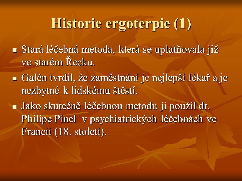 Historie ergoterapie (2) U nás ji používal Vincenz Priessnitz v lázních Jeseník, kdy i bohatí pacienti v zimě odklízeli sníh nebo řezali dříví.