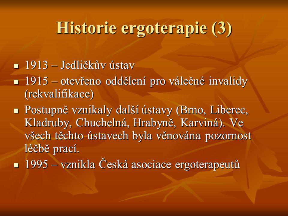 Historie ergoterapie (3) 1913 – Jedličkův ústav 1913 – Jedličkův ústav 1915 – otevřeno oddělení pro válečné invalidy (rekvalifikace) 1915 – otevřeno o