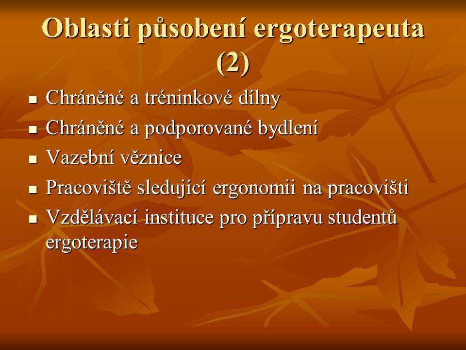 Oblasti působení ergoterapeuta (2) Chráněné a tréninkové dílny Chráněné a tréninkové dílny Chráněné a podporované bydlení Chráněné a podporované bydle