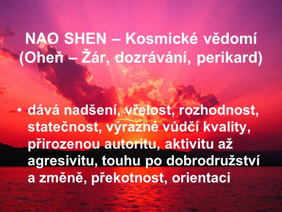 NAO SHEN – Kosmické vědomí (Oheň – Žár, dozrávání, perikard) dává nadšení, vřelost, rozhodnost, statečnost, výrazné vůdčí kvality, přirozenou autoritu, aktivitu až agresivitu, touhu po dobrodružství a změně, překotnost, orientaci