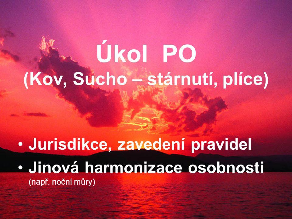 Úkol PO (Kov, Sucho – stárnutí, plíce) Jurisdikce, zavedení pravidel Jinová harmonizace osobnosti (např.