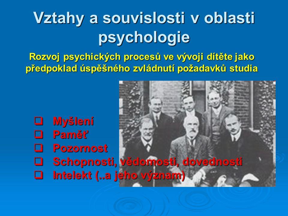 Vztahy a souvislosti v oblasti psychologie Rozvoj psychických procesů ve vývoji dítěte jako předpoklad úspěšného zvládnutí požadavků studia  Myšlení