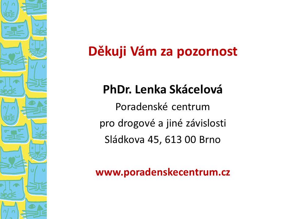Děkuji Vám za pozornost PhDr. Lenka Skácelová Poradenské centrum pro drogové a jiné závislosti Sládkova 45, 613 00 Brno www.poradenskecentrum.cz
