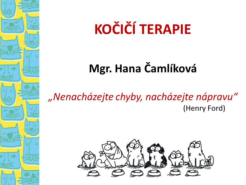 """KOČIČÍ TERAPIE """"Nenacházejte chyby, nacházejte nápravu"""" (Henry Ford) Mgr. Hana Čamlíková"""