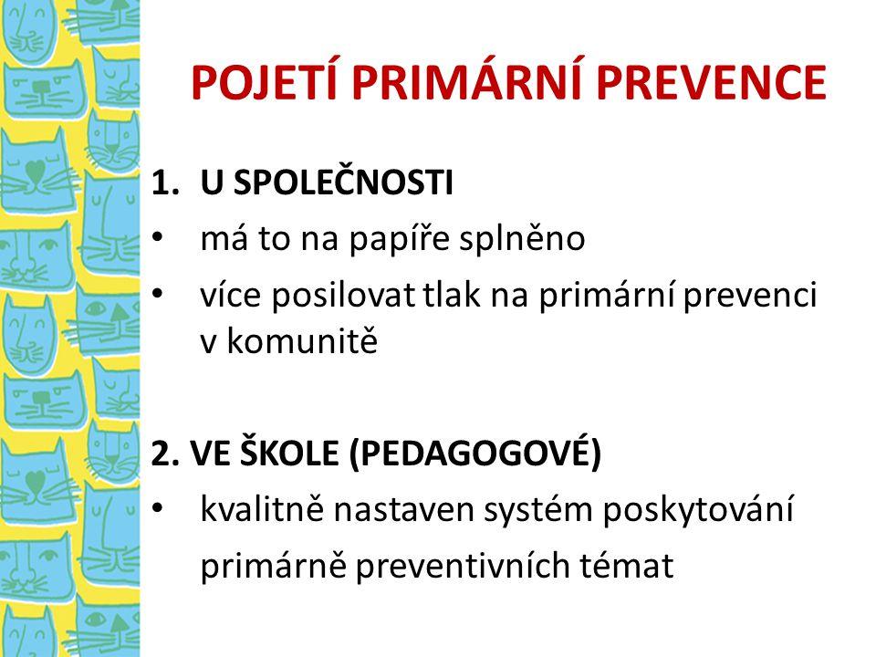 POJETÍ PRIMÁRNÍ PREVENCE 1.U SPOLEČNOSTI má to na papíře splněno více posilovat tlak na primární prevenci v komunitě 2. VE ŠKOLE (PEDAGOGOVÉ) kvalitně