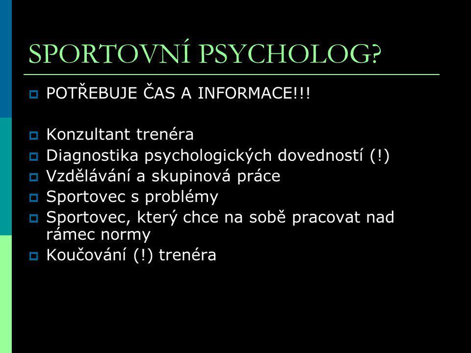 SPORTOVNÍ PSYCHOLOG. POTŘEBUJE ČAS A INFORMACE!!.