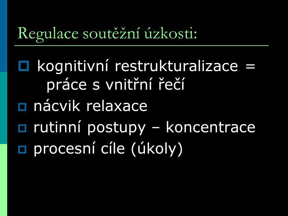 Regulace soutěžní úzkosti:  kognitivní restrukturalizace = práce s vnitřní řečí  nácvik relaxace  rutinní postupy – koncentrace  procesní cíle (úkoly)
