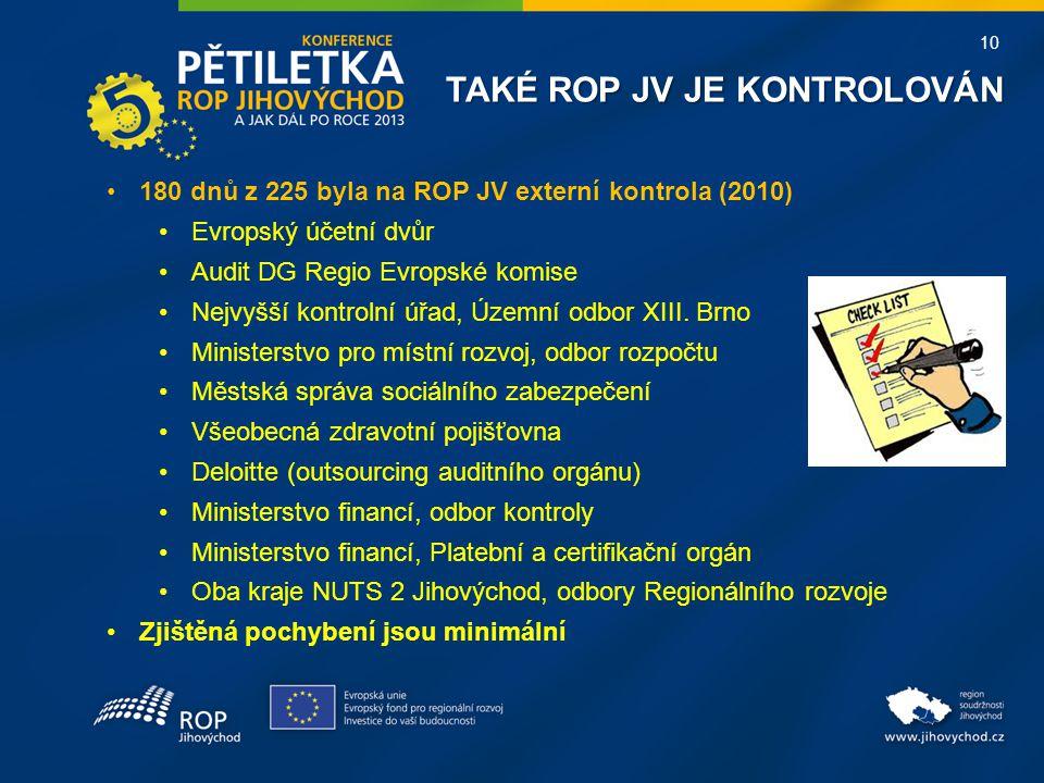 10 TAKÉ ROP JV JE KONTROLOVÁN 180 dnů z 225 byla na ROP JV externí kontrola (2010) Evropský účetní dvůr Audit DG Regio Evropské komise Nejvyšší kontrolní úřad, Územní odbor XIII.
