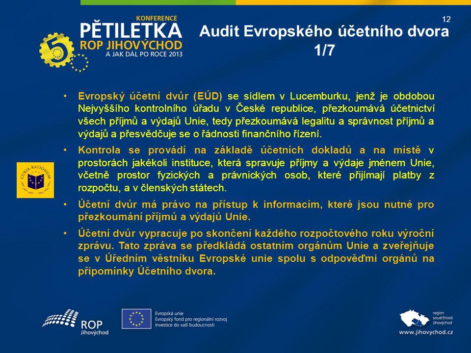 12 Audit Evropského účetního dvora 1/7 Evropský účetní dvůr (EÚD) se sídlem v Lucemburku, jenž je obdobou Nejvyššího kontrolního úřadu v České republice, přezkoumává účetnictví všech příjmů a výdajů Unie, tedy přezkoumává legalitu a správnost příjmů a výdajů a přesvědčuje se o řádnosti finančního řízení.