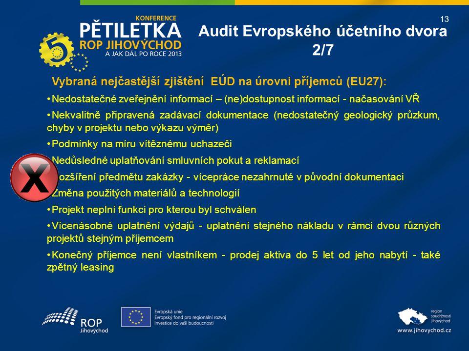 13 Audit Evropského účetního dvora 2/7 Vybraná nejčastější zjištění EÚD na úrovni příjemců (EU27): Nedostatečné zveřejnění informací – (ne)dostupnost informací - načasování VŘ Nekvalitně připravená zadávací dokumentace (nedostatečný geologický průzkum, chyby v projektu nebo výkazu výměr) Podmínky na míru vítěznému uchazeči Nedůsledné uplatňování smluvních pokut a reklamací Rozšíření předmětu zakázky - vícepráce nezahrnuté v původní dokumentaci Změna použitých materiálů a technologií Projekt neplní funkci pro kterou byl schválen Vícenásobné uplatnění výdajů - uplatnění stejného nákladu v rámci dvou různých projektů stejným příjemcem Konečný příjemce není vlastníkem - prodej aktiva do 5 let od jeho nabytí - také zpětný leasing
