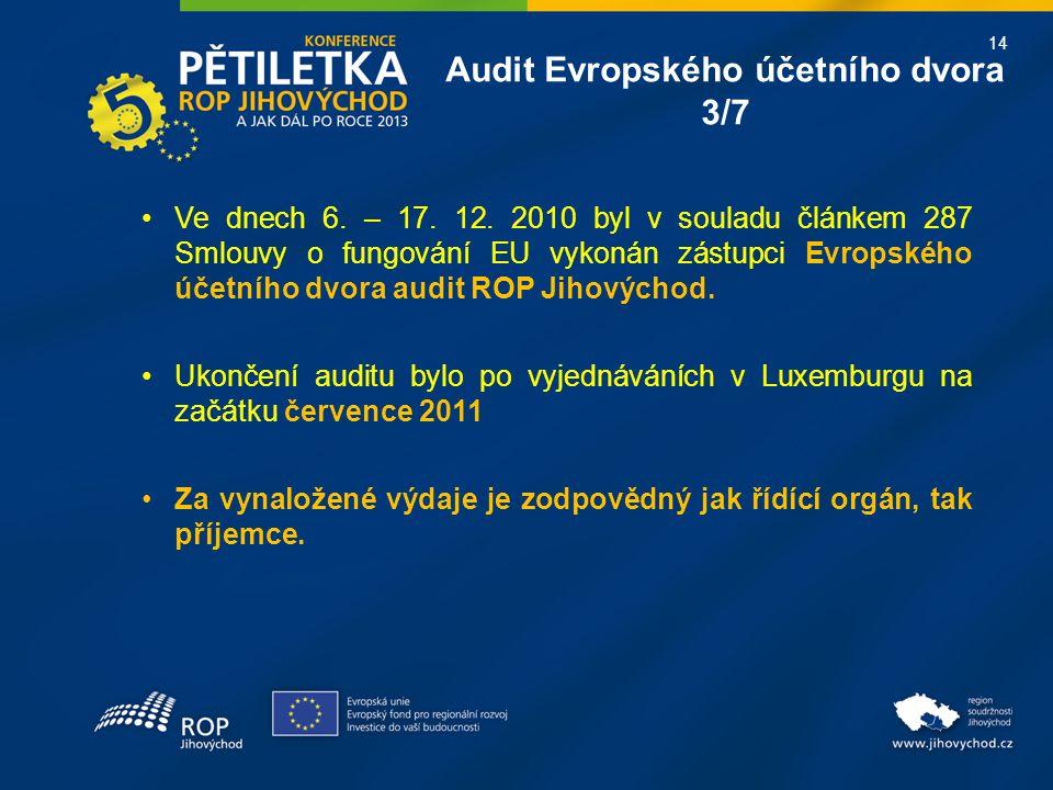 14 Ve dnech 6. – 17. 12. 2010 byl v souladu článkem 287 Smlouvy o fungování EU vykonán zástupci Evropského účetního dvora audit ROP Jihovýchod. Ukonče