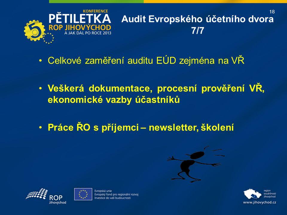 18 Celkové zaměření auditu EÚD zejména na VŘ Veškerá dokumentace, procesní prověření VŘ, ekonomické vazby účastníků Práce ŘO s příjemci – newsletter,