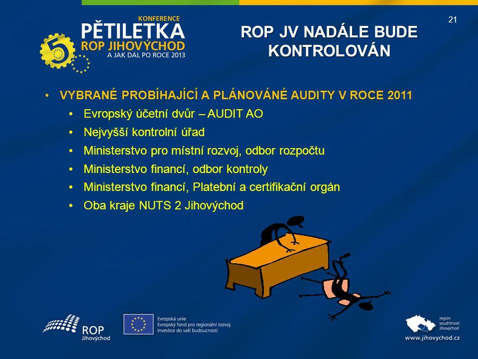 21 ROP JV NADÁLE BUDE KONTROLOVÁN VYBRANÉ PROBÍHAJÍCÍ A PLÁNOVÁNÉ AUDITY V ROCE 2011 Evropský účetní dvůr – AUDIT AO Nejvyšší kontrolní úřad Ministers
