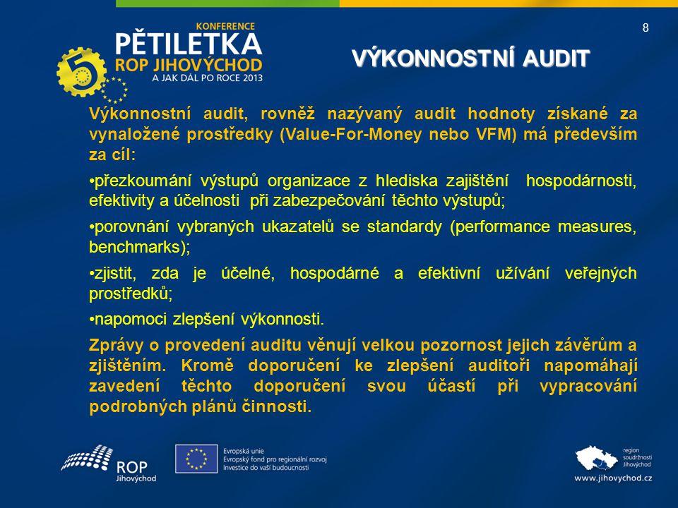 8 VÝKONNOSTNÍ AUDIT VÝKONNOSTNÍ AUDIT Výkonnostní audit, rovněž nazývaný audit hodnoty získané za vynaložené prostředky (Value-For-Money nebo VFM) má