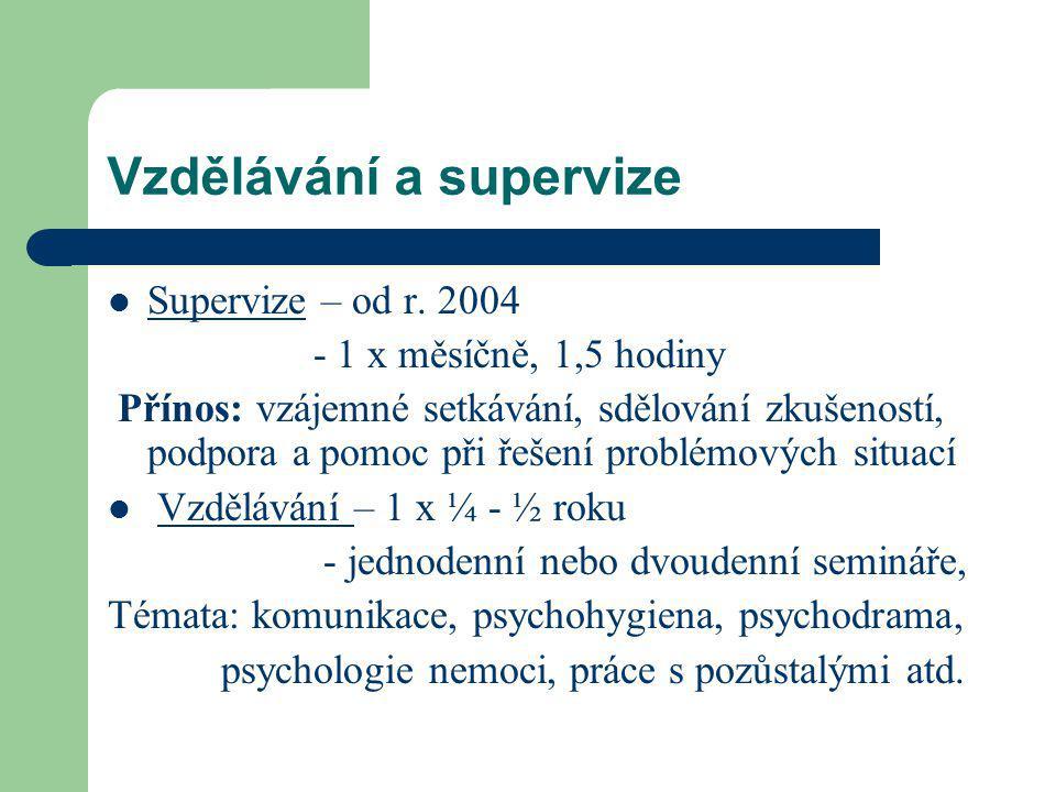 Vzdělávání a supervize Supervize – od r.