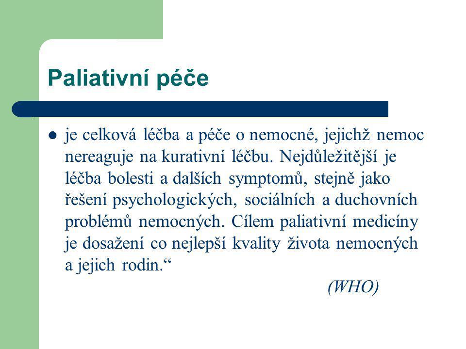 Paliativní péče je celková léčba a péče o nemocné, jejichž nemoc nereaguje na kurativní léčbu.