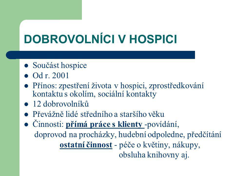 DOBROVOLNÍCI V HOSPICI Součást hospice Od r.