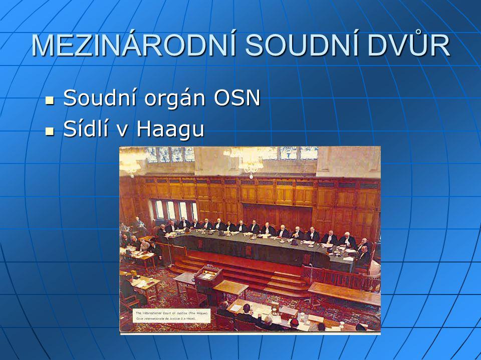MEZINÁRODNÍ SOUDNÍ DVŮR Soudní orgán OSN Soudní orgán OSN Sídlí v Haagu Sídlí v Haagu